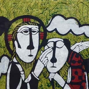 渡辺禎雄 型絵染版画 「盲人を癒すキリスト」