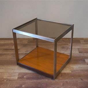 Custom Made Stainless Frame Glass Top Trolley Table
