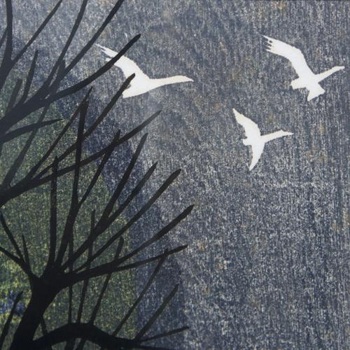 髙木 志朗 「鳥とぶ林」木版画