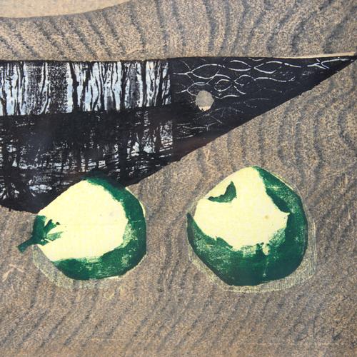 島 珠実 木版画「さかなと果物」1958年