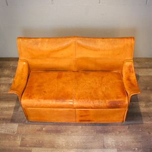 Italy Vintage Tanned Leather 2Seater Sofa