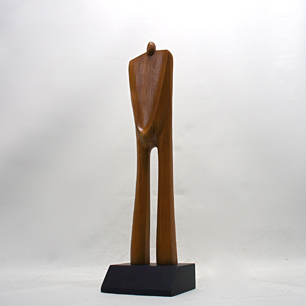 Solid Teak Abstract Person Sculpture
