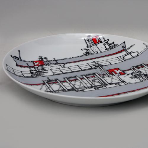 70's 柳原良平デザイン「川崎汽船/川和会」有田焼絵皿